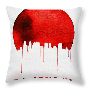 Philadelphia Skyline Redskyline Red Throw Pillow by Naxart Studio