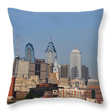 Philadelphia Standing Tall Throw Pillow by Bill Cannon