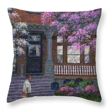 Philadelphia Street In Spring Throw Pillow