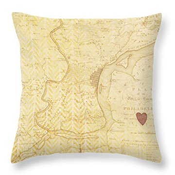 Philadelphia Vintage Map Throw Pillow