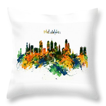 Philadelphia Watercolor Skyline Throw Pillow by Marian Voicu
