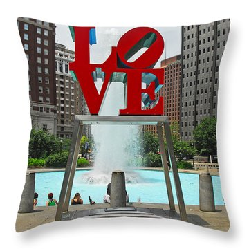 Philadelphia's Love Park Throw Pillow by Cindy Manero