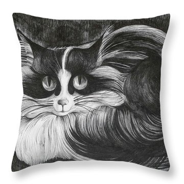 Throw Pillow featuring the drawing Philip by Anna  Duyunova