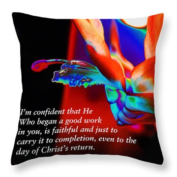 Philippians 1 Vs 6 Throw Pillow