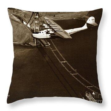 Philippine Clipper A Pan Am Clipper Over The Golden Gate Bridge  1935 Throw Pillow