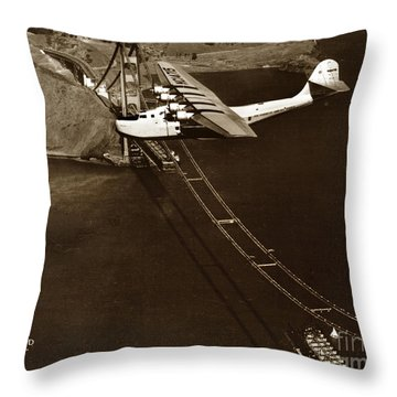 Philippine Clipper A Pan Am Clipper Over The Golden Gate Bridge  1935 Throw Pillow