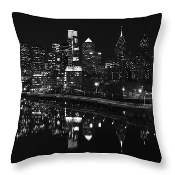 Philly And The Schuylkill Bw Throw Pillow by Jennifer Ancker