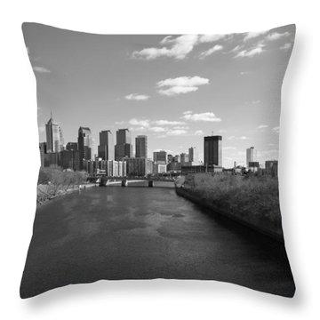 Philly B/w Throw Pillow by Jennifer Ancker