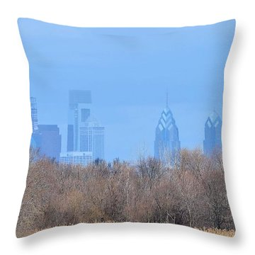 Philly From Afar Throw Pillow by Kathy Eickenberg