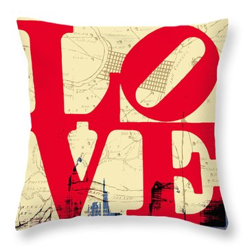Philly Love V3 Throw Pillow