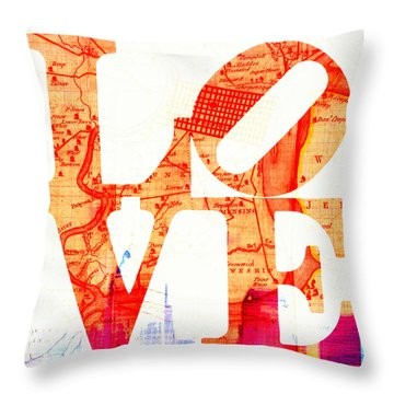 Philly Love V4 Throw Pillow