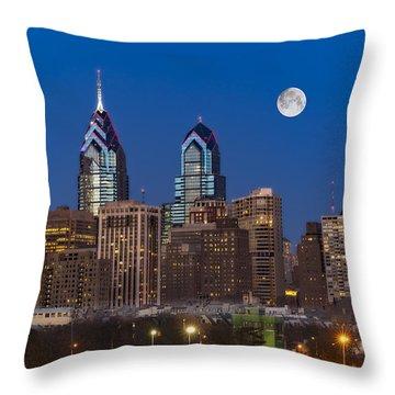 Philly Skyline Full Moon Throw Pillow