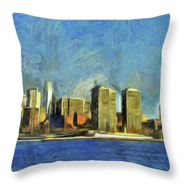 Throw Pillow featuring the mixed media Philly Skyline by Trish Tritz