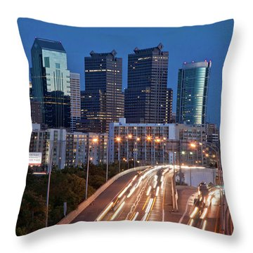 Throw Pillow featuring the photograph Philly Skyline With Highways by Matthew Bamberg