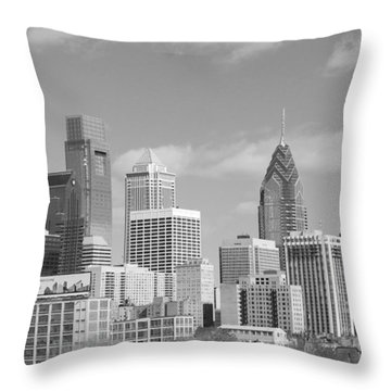 Philly Skyscrapers Black And White Throw Pillow by Jennifer Ancker