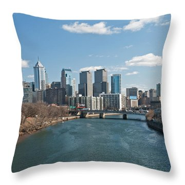 Philly Winter Throw Pillow by Jennifer Ancker