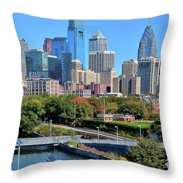 Throw Pillow featuring the photograph Philly With Walking Trail by Frozen in Time Fine Art Photography