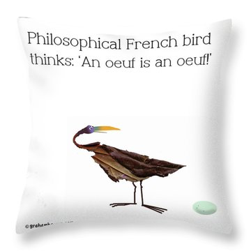 Philosophical Bird Throw Pillow
