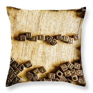 Philosophy In Metal Cubes Throw Pillow