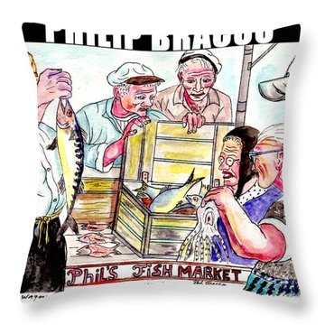 Phil's Fish Market Throw Pillow
