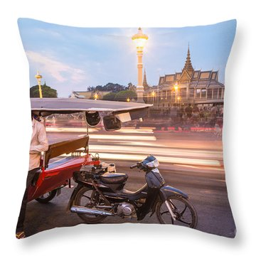 Phnom Penh Tuk Tuk Throw Pillow