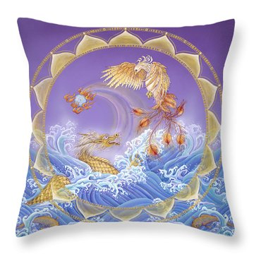 Phoenix And Dragon Throw Pillow by Nadean O'Brien