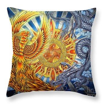 Phoenix And Dragon Throw Pillow