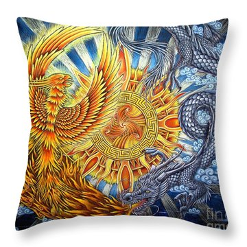 Phoenix And Dragon Throw Pillow by Rebecca Wang