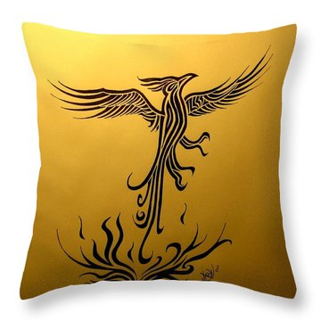 Throw Pillow featuring the drawing Phoenix by Michelle Dallocchio