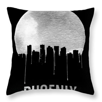 Phoenix Skyline Black Throw Pillow by Naxart Studio