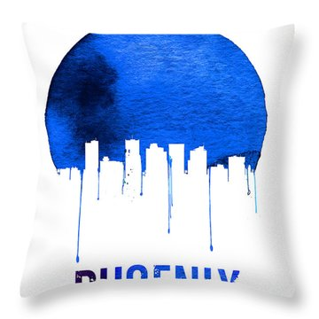 Phoenix Skyline Blue Throw Pillow by Naxart Studio