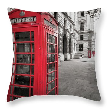 Phone Booths In London Throw Pillow