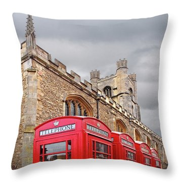 Throw Pillow featuring the photograph Phone Home - Gt St Marys Church Cambridge by Gill Billington