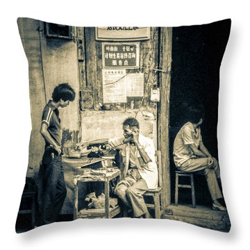 Throw Pillow featuring the photograph Phonecall On Chinese Street by Heiko Koehrer-Wagner