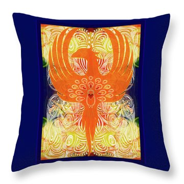 Throw Pillow featuring the digital art Phonix Rising Abstract Healing Art By Omashte by Omaste Witkowski