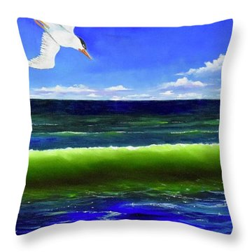 Throw Pillow featuring the painting Photobomb by Mary Scott