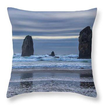 Photographer At Cannon Beach Throw Pillow by David Gn
