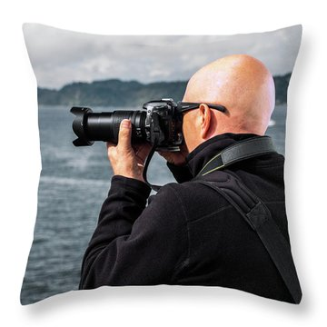 Photographer At Work Throw Pillow