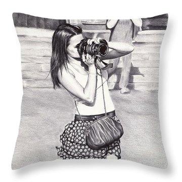 Photographer - Ballpoint Pen Art Throw Pillow