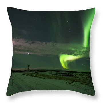 Throw Pillow featuring the photograph Photographer Under The Northern Light by Dubi Roman