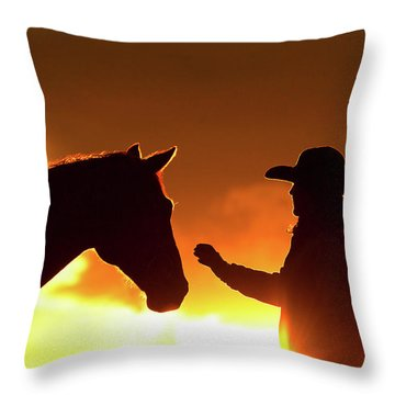 Cowgirl Sunset Sihouette Throw Pillow