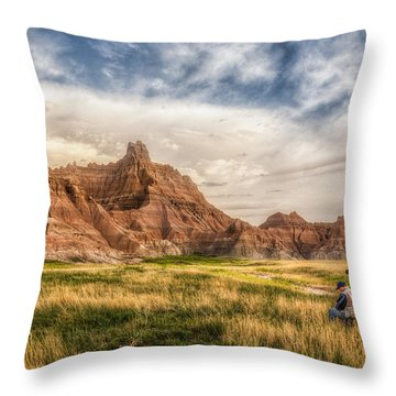 Photographer Waiting For The Badlands Light Throw Pillow