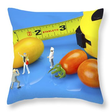 Throw Pillow featuring the photograph Photography Of Tomatoes Little People On Food by Paul Ge