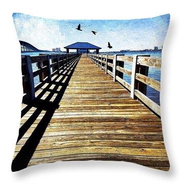 Biloxi Bay Pier Throw Pillow by Joan McCool
