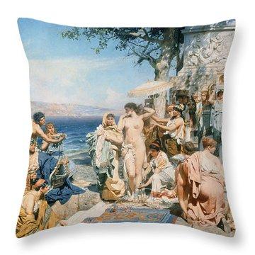 Phryne At The Festival Of Poseidon In Eleusin Throw Pillow by Henryk Siemieradzki