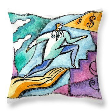 Throw Pillow featuring the painting Physician And Money by Leon Zernitsky