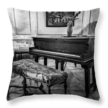 Throw Pillow featuring the photograph Piano At Josie's House Bw by Joan Carroll