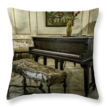 Throw Pillow featuring the photograph Piano At Josie's House by Joan Carroll