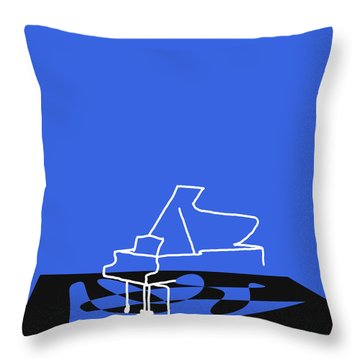 Throw Pillow featuring the digital art Piano In Blue by Jazz DaBri