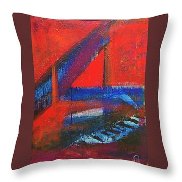 Piano In The Red Room Throw Pillow